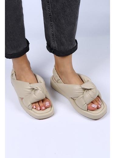 Female Project Bej Hakiki Deri Dolgu Taban Sandalet Bej
